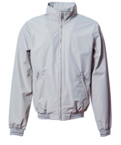 Bomber jacket with chambray cool cotton lining, cuffs and band made of elastic knitted fabric