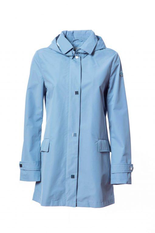 Laminated fabric dust coat with detachable hood
